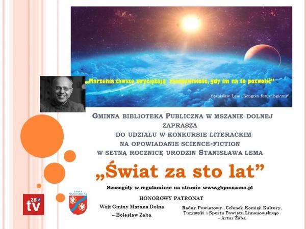 """Konkurs """"Świat za sto lat"""". Gminna Biblioteka Publiczna zaprasza do udziału"""