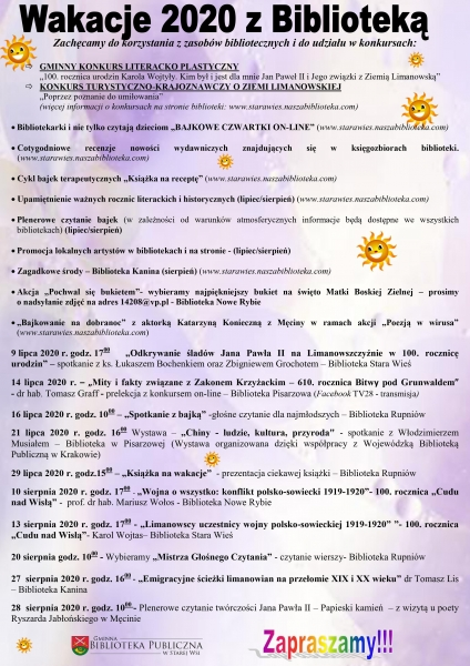 """""""Wakacje 2020 z Biblioteką"""" - Gminna Biblioteka w Starej Wsi prezentuje ofertę na lato"""