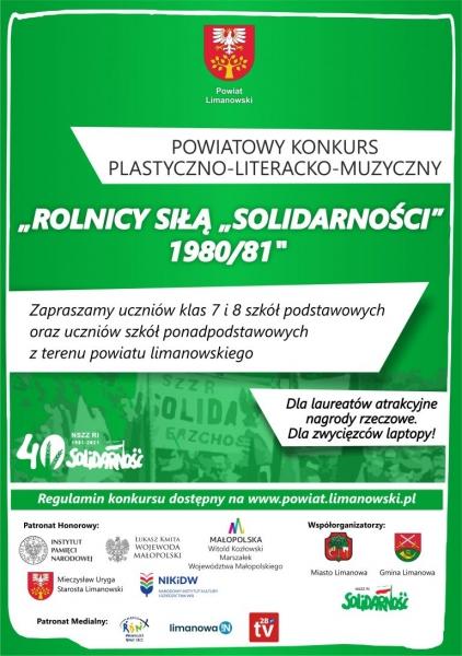 """Rolnicy siłą """"Solidarności"""" 1980/81 - powiatowy konkurs plastyczno - literacko - muzyczny"""