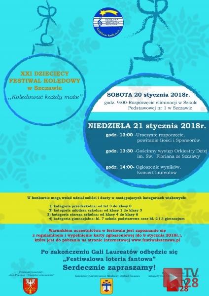 Zaproszenie Na Xxi Festiwal Kolędniczy Do Szczawy Tv28pl