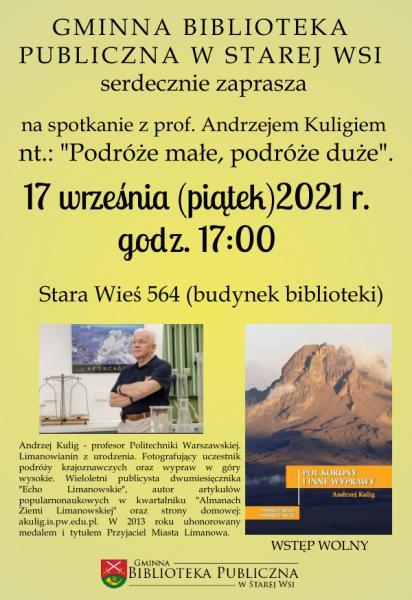 Prof. Andrzej Kulig będzie mówił o miłości do gór. Na spotkanie zaprasza Gminna Biblioteka Publiczna